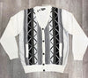 Inserch Black & White Cardigan with Suede Trim SW900-41