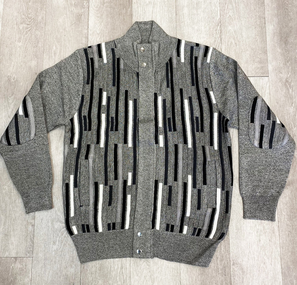 Inserch Grey Full Zip Geometric Intarsia Sweater SW602-33