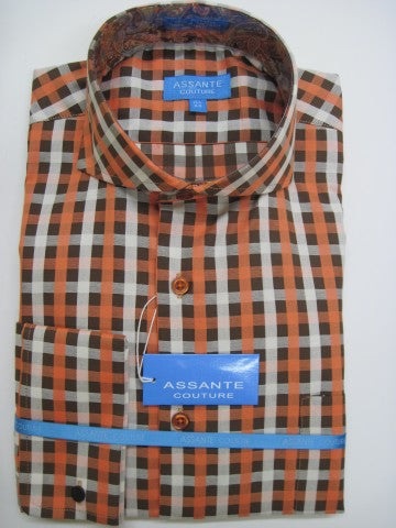Assante Couture Brown & Orange Plaid Cut Away Collar W/ French Cuff (201-11F)