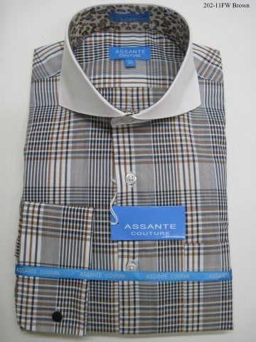 Assante Couture Brown Plaid Cut Away Collar W/ French Cuff (202-11FW)