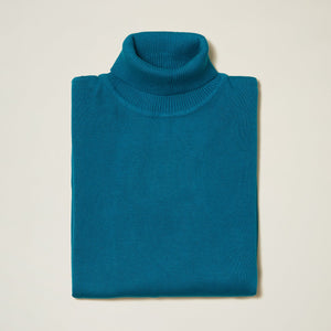Inserch Cotton Blend Turtleneck Sweater Ocean Blue