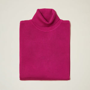 Inserch Cotton Blend Turtleneck Sweater Magenta