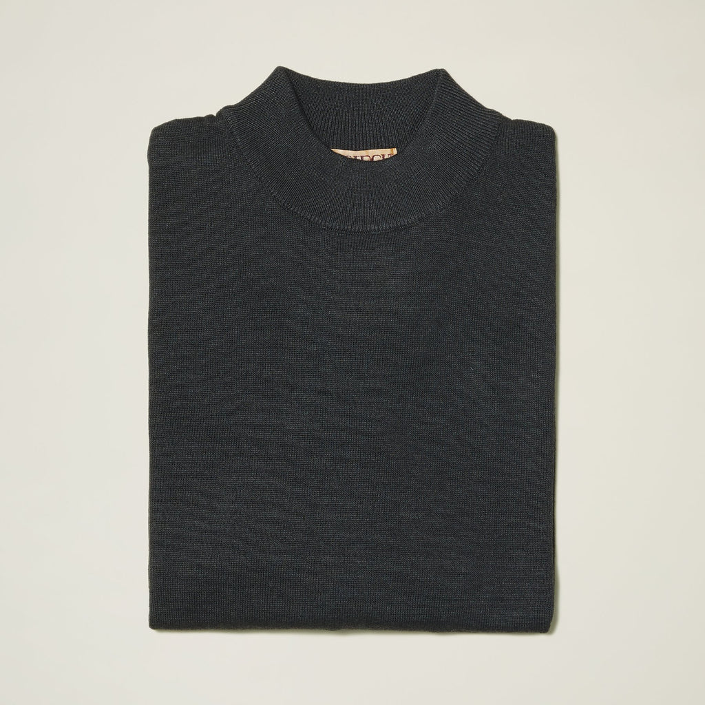 Inserch Cotton Blend Mock Neck Sweater Charcoal