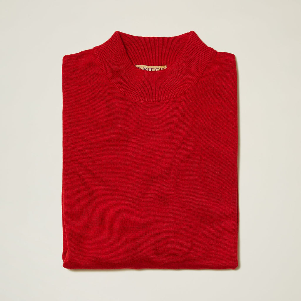Inserch Cotton Blend Mock Neck Sweater Red
