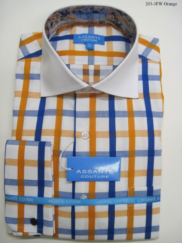 Assante Couture Orange & Blue Plaid Spread Collar W/ French Cuff (203-3FW)