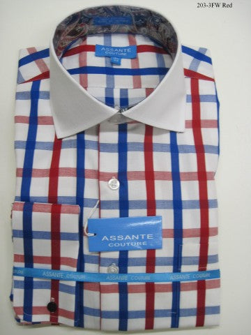 Assante Couture Red & Blue Plaid Spread Collar W/ French Cuff (203-3FW)