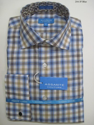 Assante Couture Blue Plaid Spread Collar W/ French Cuff (204-3F)