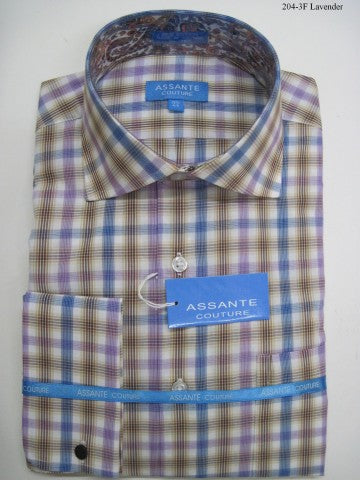 Assante Couture Lavender Plaid Spread Collar W/ French Cuff (204-3F)