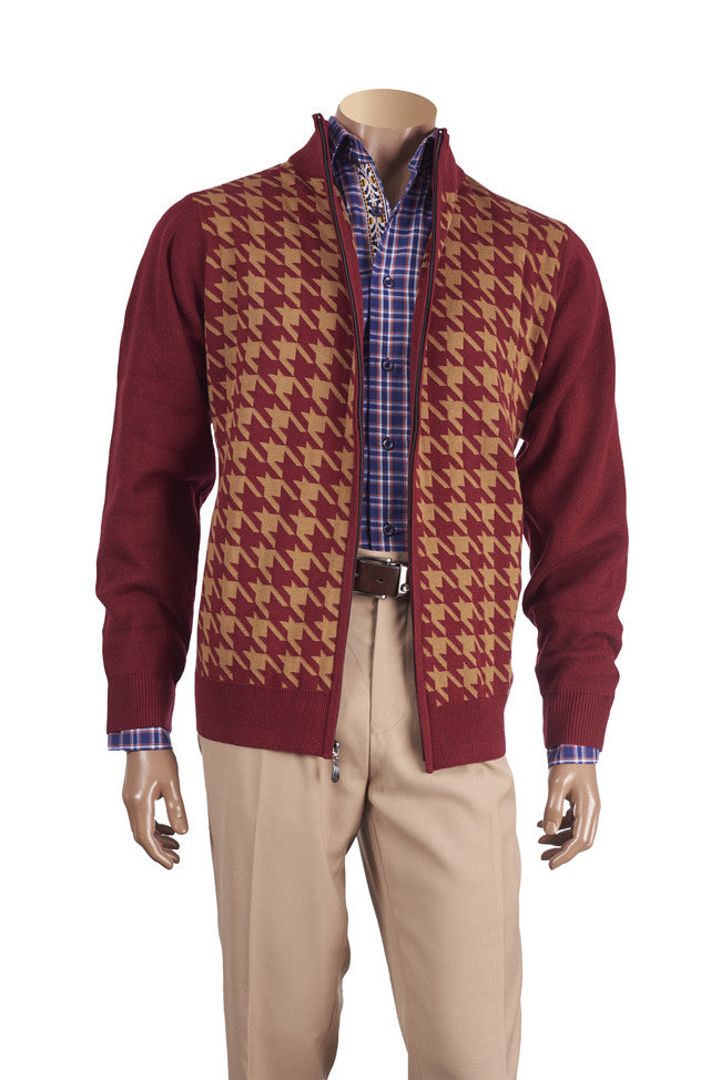Inserch Full Zip Sweater 451 Burgundy