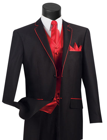 Vinci Regular Fit 5 Piece Suit with Tie and Handkerchief (Black/Red) 23SS-4