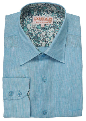 Inserch Premium Linen Yarn-Dye Solid Long Sleeve Shirt 24116-164 Paradise Sky