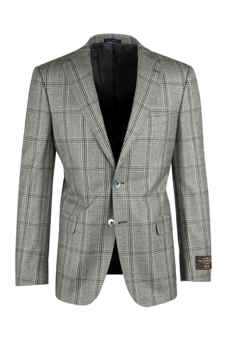 Dolcetto Light Gray with Dark Gray Windowpane Modern Fit, Pure Wool Jacket by Canaletto Menswear 27.542/2