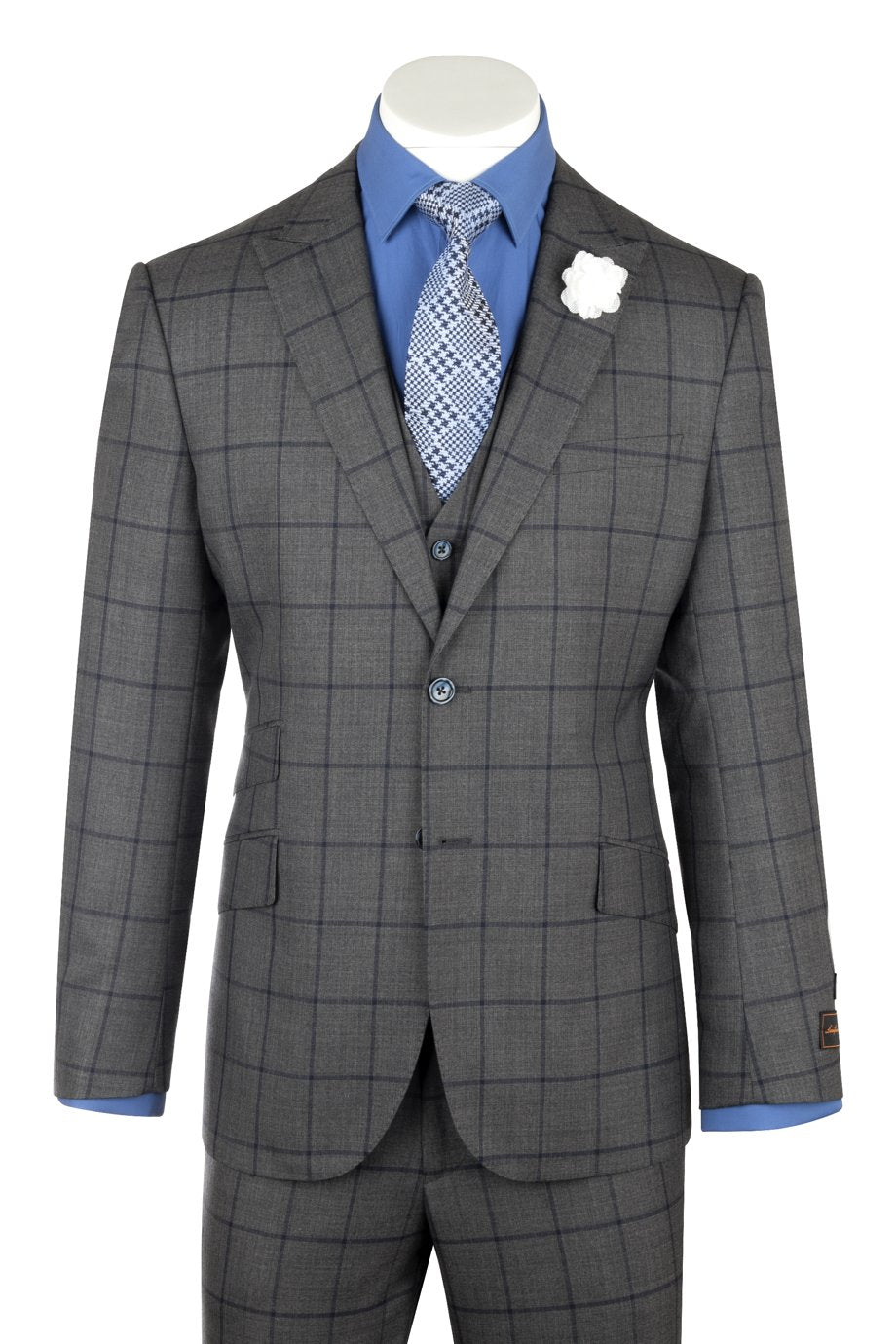 Tiglio Luxe BARBERA, Modern Fit, Dark Gray with navy windowpane, Pure Wool Suit & Vest 27556/1