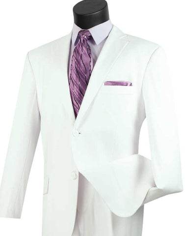 Vinci Regular Fit 2 Button 2 Piece Suit (White) 2TR