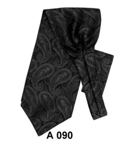 Paisley Satin Ascot With Matching Handkerchief (3 Colors)