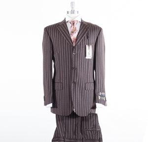 Prontomoda Wool Brown/White Stripe 44474