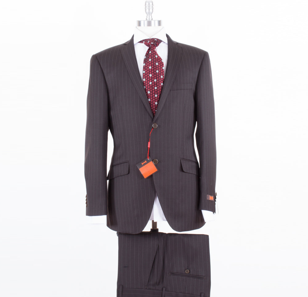Ideal by Zanetti Modern Fit Dark Brown Pinstripe 21646