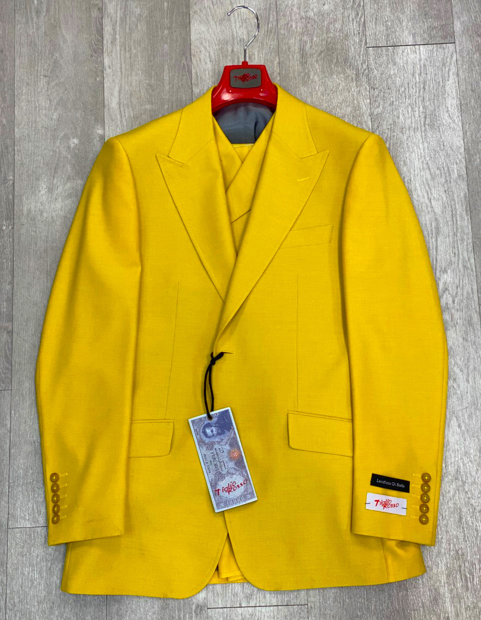 Tiglio Rosso San Giovesse Yellow Wide Leg Pure Wool Suit & Vest