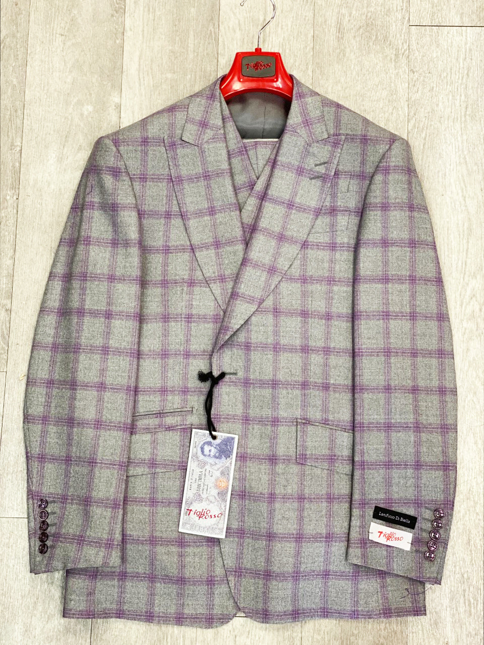 "Tiglio Rosso ""New Rosso"" Grey/Lilac Plaid Wide Leg Pure Wool Suit & Vest T5064/1"