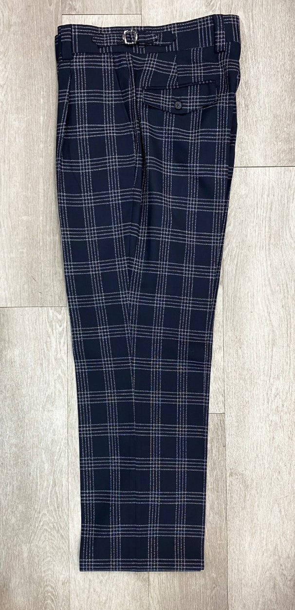 Tiglio Luxe Marbella Navy Plaid Plaid Wide Leg Pants T5071/1