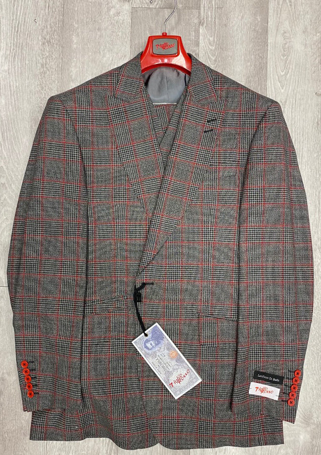 "Tiglio Rosso ""New Rosso"" Grey/Red Plaid Wide Leg Pure Wool Suit & Vest T5068/1"