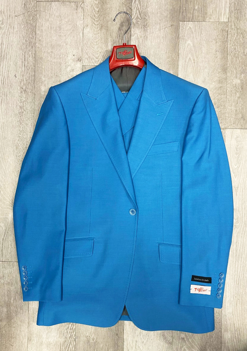 Tiglio Rosso San Giovesse Turquoise Blue Wide Leg Pure Wool Suit & Vest TIG4504/8