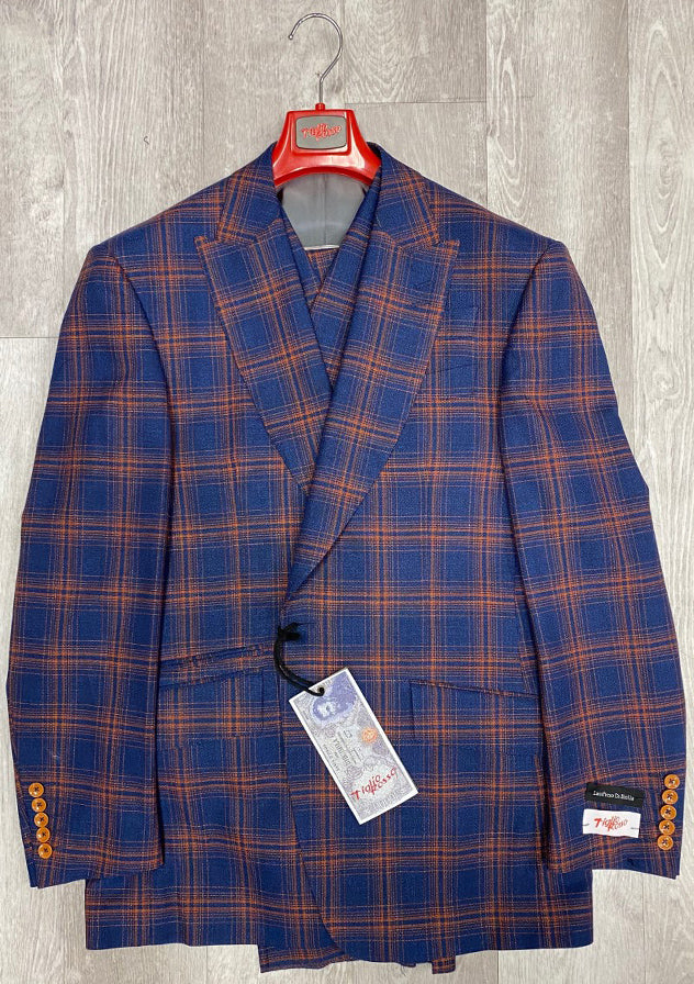"Tiglio Rosso ""New Rosso"" Blue/Rust Plaid Wide Leg Pure Wool Suit & Vest 74536/6"