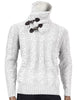 Inserch Shawl Collar Sweater with Fur Trim 458-01 White