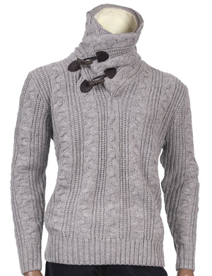 Inserch Shawl Collar Sweater with Fur Trim 458-142 Heather Gray