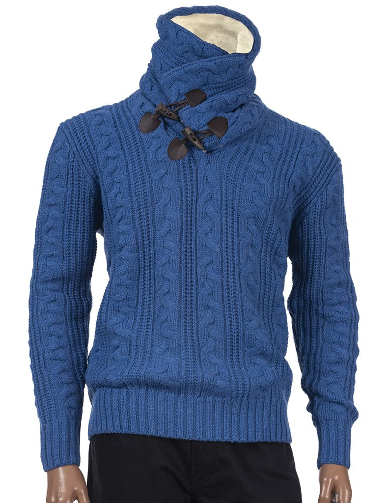 Inserch Shawl Collar Sweater with Fur Trim 458-90 Cobalt Blue
