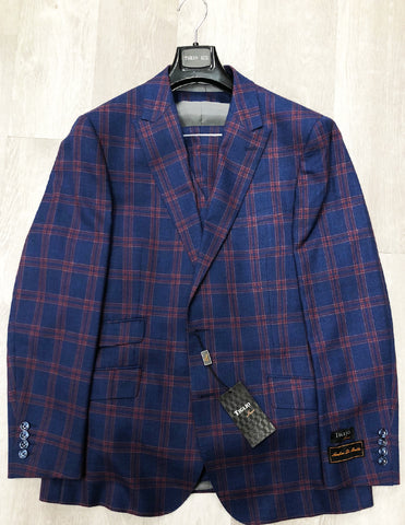 Tiglio Luxe Suit & Vest Barbera Blue with Rust Window Pane TL4190/1