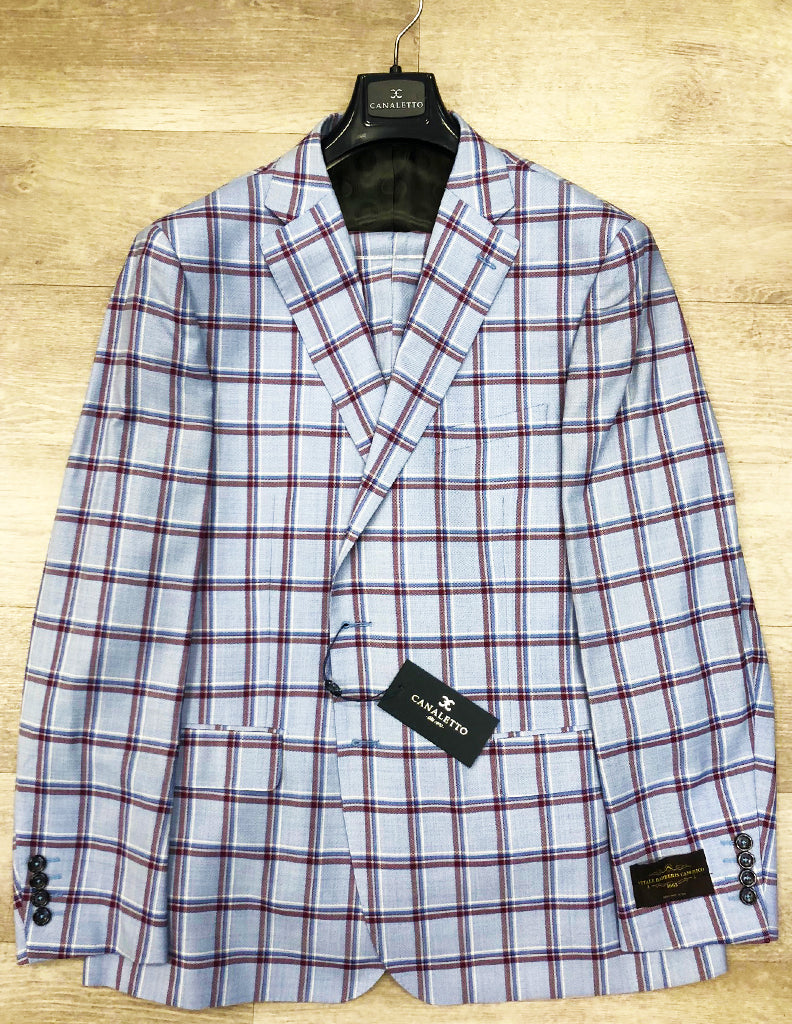 Canaletto Suit Dolcetto Vitale Barberis Canonico Light Blue with Burgundy Plaid CN44.9113/2