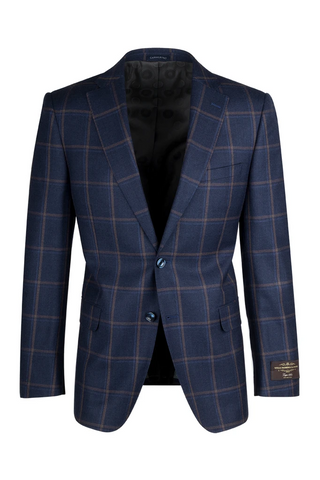 Dolcetto Navy Blue with Rust and Light Blue Windowpane Modern Fit, Pure Wool Jacket by Canaletto Menswear 47.5112/1