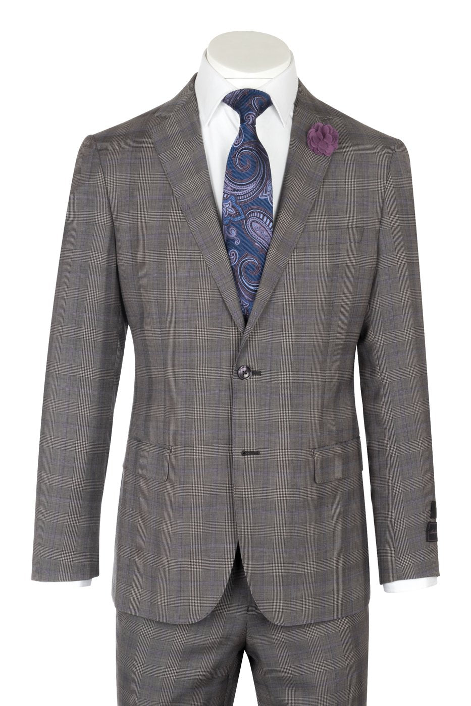 Porto Gray Glen check with purple windowpane design, Slim Fit, Pure Wool Suit by Tiglio Luxe LR61002/3