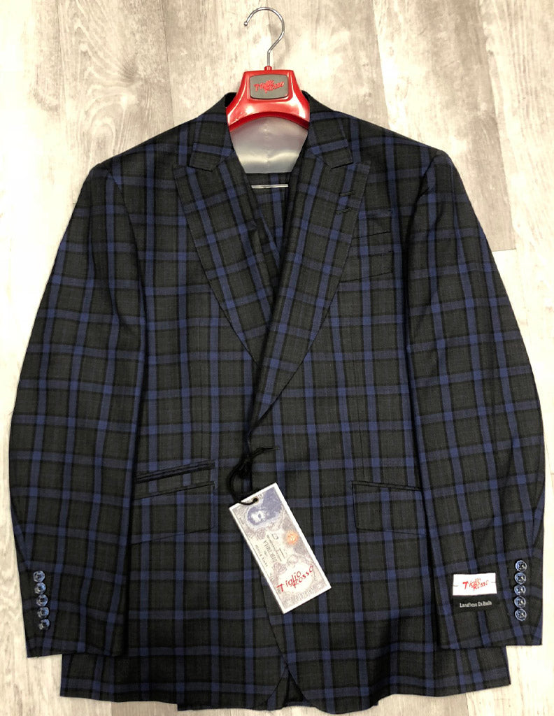 Tiglio Rosso New Rosso 1 Button Grey and Blue Plaid RS4207/4