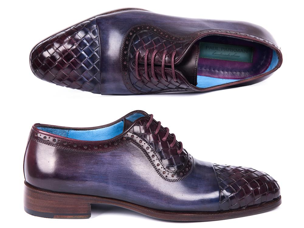 Paul Parkman Woven Leather Captoe Oxfords Navy & Purple (ID#49851-NAVY)
