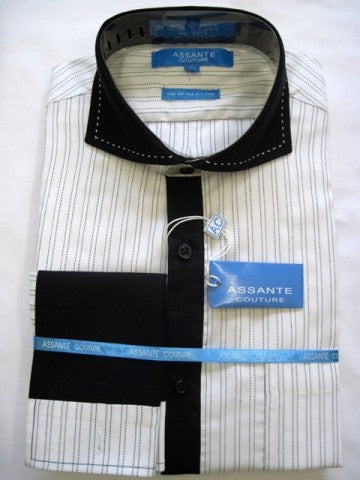 Assante Couture Black & White Striped Cut Away Collar W/ French Cuff (517) (18.5 6/7)
