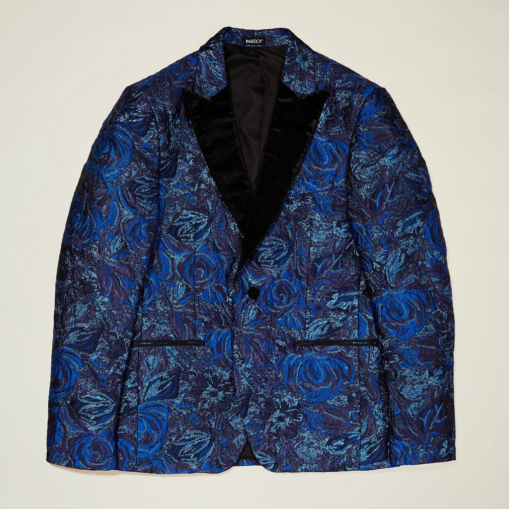 Inserch Abstract Texture Jacquard Pattern Peak Lapel Blazer 542-139 True Blue