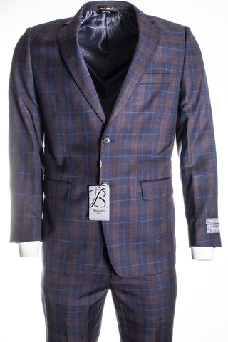 Bertolini by Mantoni Navy Plaid B79497/1