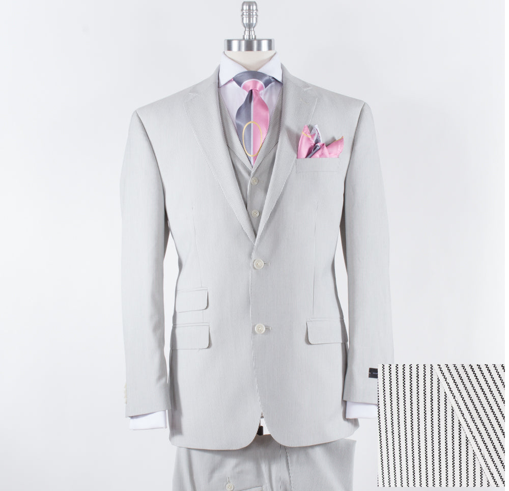 Sean John Modern Fit 3pc Suit Black/White MUTO357Z1014