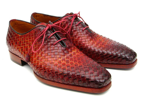Paul Parkman Bordeaux & Tobacco Woven Leather Oxfords (ID#54HK42)