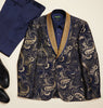 Inserch Baroque Paisley Pattern Jacquard Shawl Collar Blazer 576-11 Navy