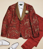 Inserch Baroque Paisley Pattern Jacquard Shawl Collar Blazer 579-30 Red