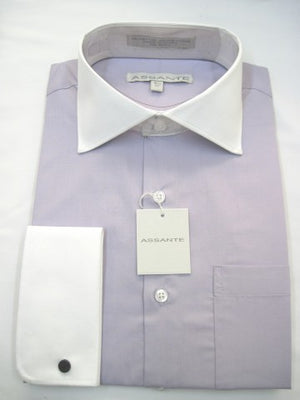 Assante Couture Lavender Solid Two Tone Spread Collar W/ French Cuff (580-3FW)