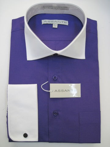 Assante Couture Purple Solid Two Tone Spread Collar W/ French Cuff (580-3FW)