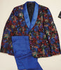 Inserch Floral Jacquard Smoking Jacket with Satin Trim 581-66 Multi