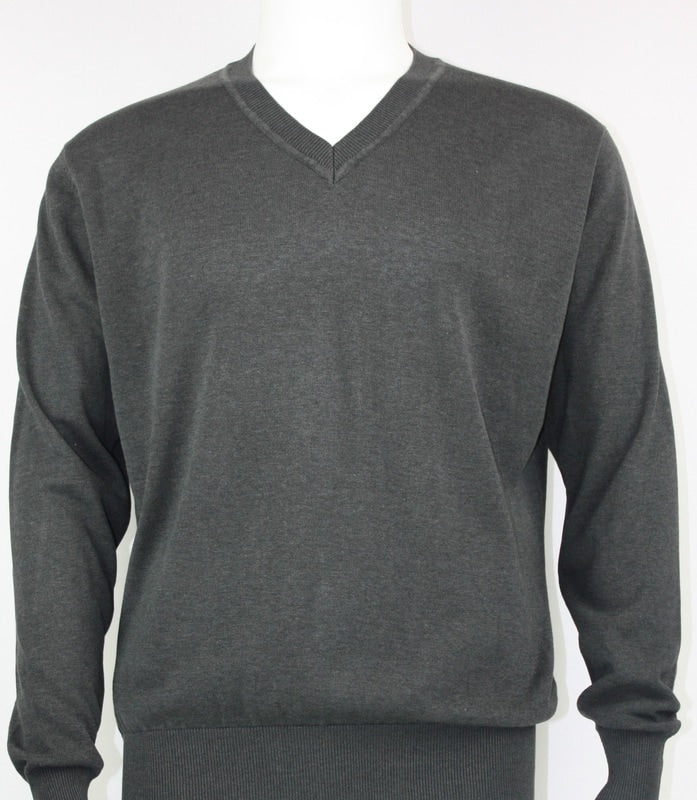 Bassiri L/S V-Neck Sweater 627-Smoke