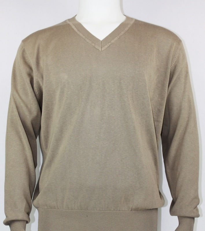 Bassiri L/S V-Neck Sweater 627-Wheat