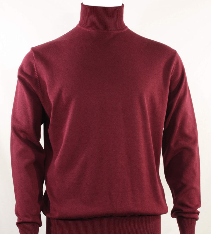 Bassiri L/S Turtle Neck Sweater 631-Burgundy