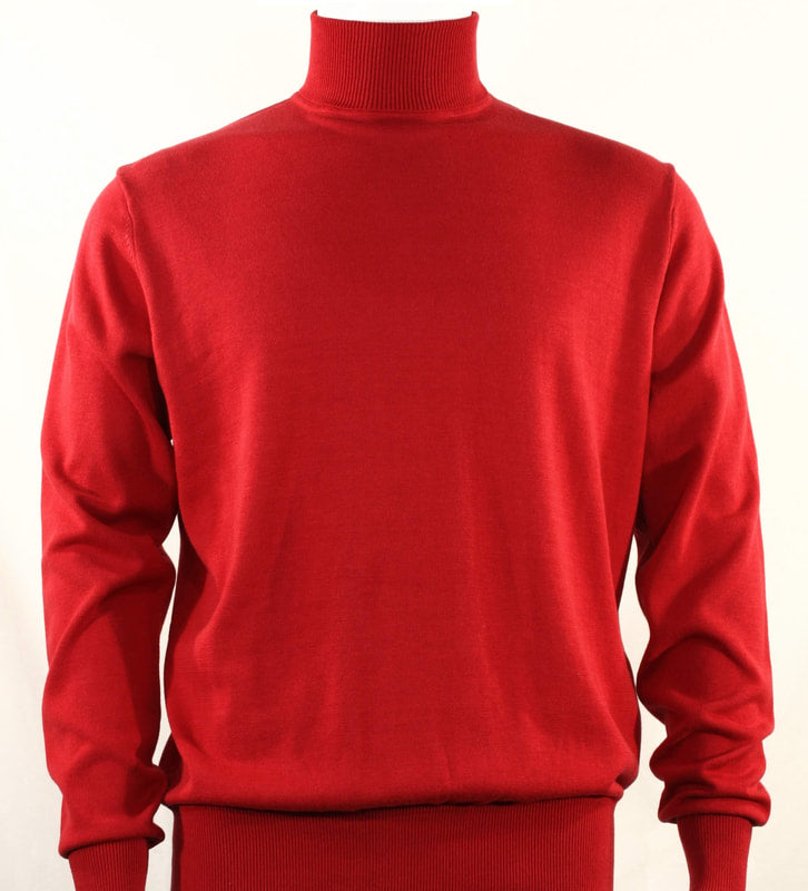 Bassiri L/S Turtle Neck Sweater 631-Red